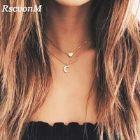 RscvonM New Fashion Jewelry Cute Heart Moon Layered Pendant Necklace For Women Girl  Multi Layers Chain Necklaces Jewelry