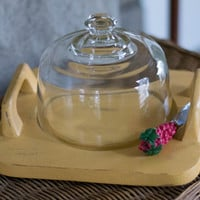 Hand Painted Vintage Cheese Board / tray with a glass dome