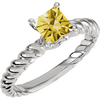 Princess yellow canary diamond 2.01 carats anniversary ring white gold 14K
