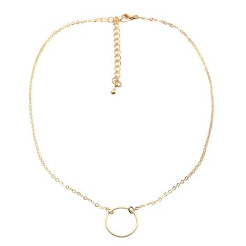 Open Circle Chain Choker Necklace