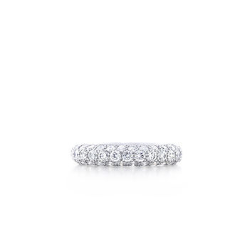 Tiffany & Co. -  Etoile three-row band ring with pavé diamonds in platinum.