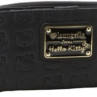 Hello Kitty SANWA0418 Wallet,Black/Gold,One Size