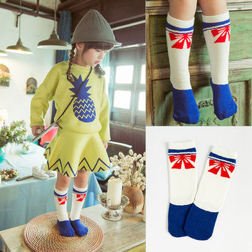 Children Korean Stylish Fashion Cotton Red Butterfly Strong Character Socks [6364145156]