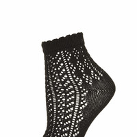 Black Pointelle Ankle Socks