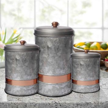 Benzara AMC0014 Galvanized Metal Lidded Canister With Copper Band, Set of Three, Gray