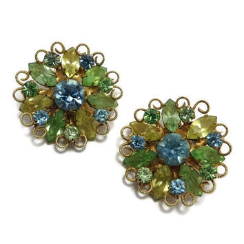Weiss Rhinestone Earrings, Vintage Green Yellow Blue Earrings, Signed Weiss Jewelry, Flower Rhinestone Earrings, Summer Earrings