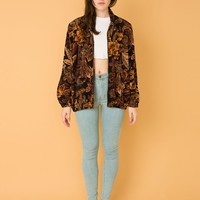 csv11410 - Vintage Oversized Leaf Print Hooded Zip-Up Jacket