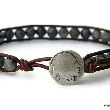 Mens Bracelet Leather Wrap Bracelet Indian Head Single Wrap