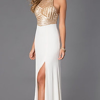 Sleeveless Floor Length Dress with Sequin Embellished Bodice