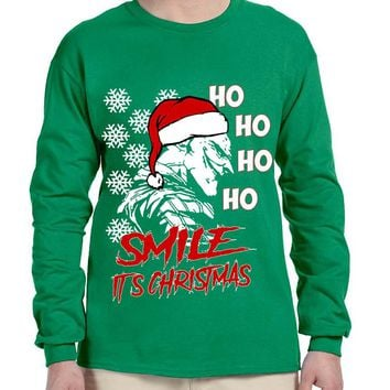 Men's Long Sleeve Christmas Joker Smile Its Christmas Ugly Gift