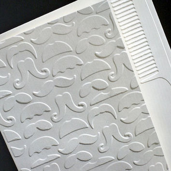 Embossed Mustache Note Card Set, White Note Cards, Masculine White Stationery, Novelty Gifts, Party Invites