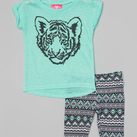 Girls Luv Pink Mint Burnout Tiger Tunic & Tribal Shorts - Infant & Toddler | zulily
