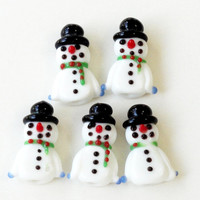 Snowman White Christmas Glass  Charms, Lamp Work Beads, Christmas Lampwork Beads Pendants (2) Pieces, Diy Craft Jewelry Projects