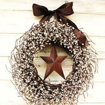 Primitive Door Wreath-Summer Door Decor-Fall Wreath-CHOCOLATE BROWN & White Star Wreath-Country Primitive Decor-Choose Scent and Ribbon