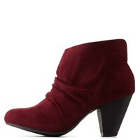 Burgundy Ruched Chunky Heel Booties by Charlotte Russe