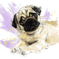 "Pug puppy portrait. Art print. Printable Instant Download 8 x 10"" JPG file, Home decor. Funny sketch drawing."