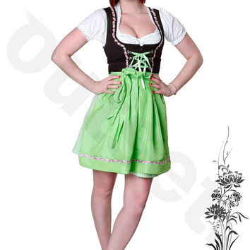 Dirndl Dress Green, Ethnic 3 Piece Oktoberfest Bavarian Trachten. Austrian, German Folk Outfit - Festival Costume With Apron and Blouse