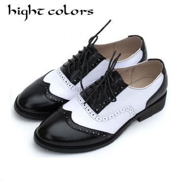 British Style Vintage Oxfords Shoes Women Low Heel Fashion Genuine Leather Brogue Shoes College Wind Mixed Colors Ladies Flats