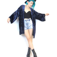 Vintage Silk Velvet Burnout Kimono Boho Gypsy Festival Stevie Nicks Navy Blue Open Jacket (M/L)