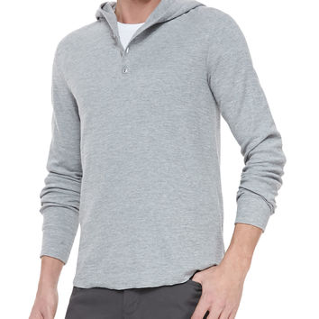 Slub-Knit Hooded Henley, Gray, Size:
