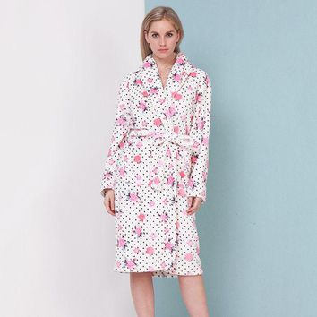 VLX2WL Printing thick flannel nightgown bathrobe women's autumn and winter warm luxury supersoft [9093783690]
