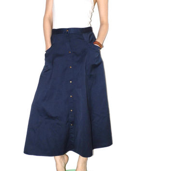 Vintage long button down skirt Bell skirt Full length Navy blue Wide High waist skirt Long skirt  Button front skirt Long black aline skirt