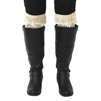 Ivory Crochet Knee High Socks