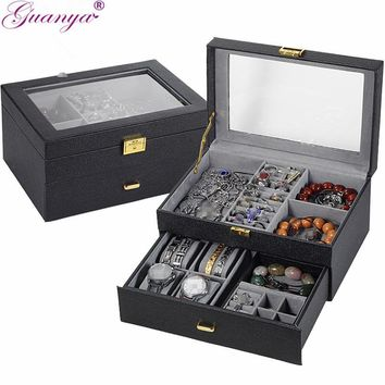 Women's- Leather- 6 Compartment Jewelry Boxes.  5 Colors To Choose From.