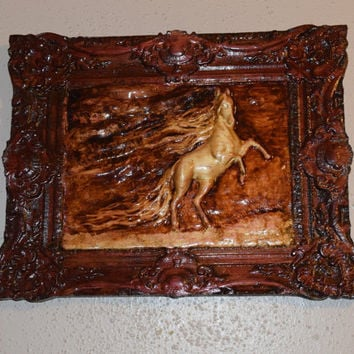Wild Horse Hand Carved Handmade Wood Wall Art Horse Lover's Gift Ornate Horse Wood Wall Hanging Handmade in Texas Ready to Ship