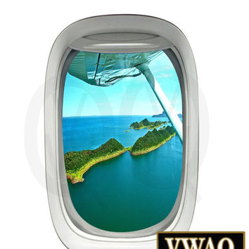 Flying Plane Islands Window Decal Vinyl Airplane Window Decals Aviation Decor VWAQ-PW19