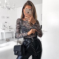 Women Bodycon Fashion Zebra Print Perspective Long Sleeve Bodysuit Tops
