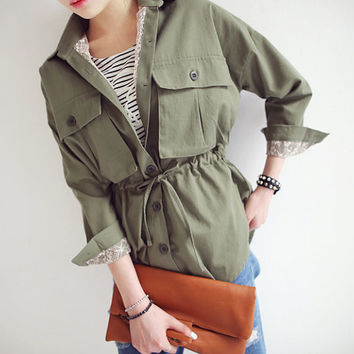 Khaki women jacket, shirt, blazer, white lace jacket, coat, outwear,green military jacket