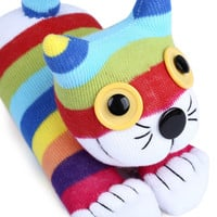 HOT Sale Baby Handmade Lovely Cartoon Rainbow Striped Sock Cat Soft Doll Stuffed Animals Toy Christmas Gift For Kids Children
