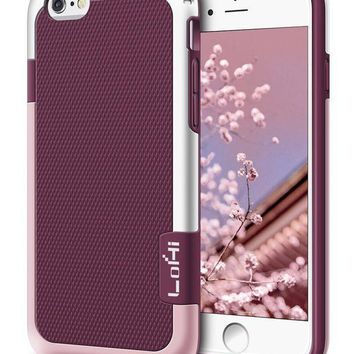 Iphone 6s Plus / 6 Plus Case Lohi [extra Front Raised Lip] Hybrid Impact 3 Color Shockproof Rugged Soft Tpu Hard Pc Bumper Anti Slip Cover 5.5 Inch Wine Red