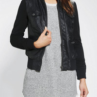 Urban Outfitters - Members Only Hooded Vegan Leather Bomber Jacket