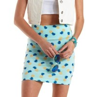 Blue Combo Pineapple Print Bodycon Mini Skirt by Charlotte Russe