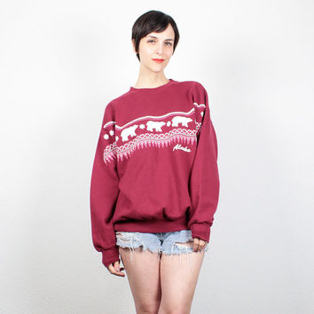 Vintage 90s Sweatshirt Burgundy Pink ALASKA Polar Bear Screen print Novelty Pullover 1990s Jumper Nordic Sweater T Shirt L XL Extra Large