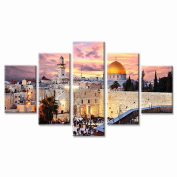 5 Panels Abstract Wall Art Painting Stretched and Ready to Hang Framed Modern Art Mosque Modern Islamic Muslim Print on Canvas