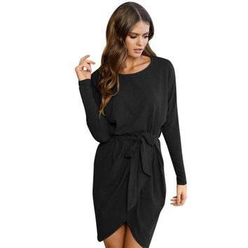Long Sleeve Casual Mini Belted Dress