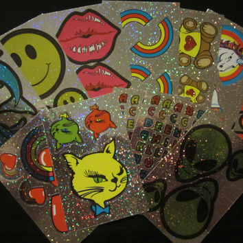 Vintage Holographic Stickers - Winking Cat Head, Lips, Unicorns, Hearts, Rainbows, Aliens, Smiles etc.