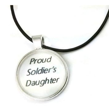 Mama Designs Iinspirational 'Proud Soldier'S Daughter' Dome Necklace On A Leather Cord | Overstock.com Shopping - The Best Deals on Necklaces