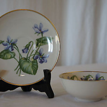 VINTAGE FRANCISCAN CHINA Olympic Cup & Saucer Blue Flowers~MADE IN CALIFORNIA