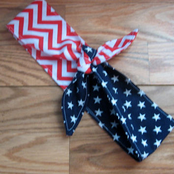 Ladies Hair Bandana, 4th of July, STARS, Vote 2016, Bandana, Patriotic BANDANA, Retro Style, BigBow Hairband, Hair Scarf ,4th of July  #FJ2