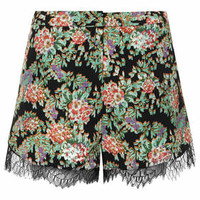 Lace Floral Runner Shorts - Multi
