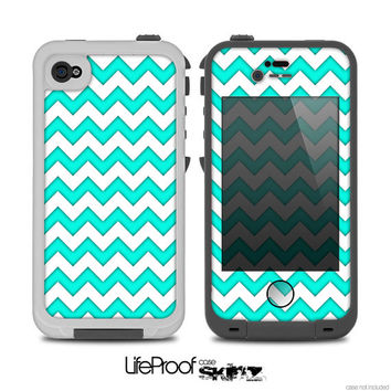 The Tiffany Blue & White Chevron Pattern Print Skin for the iPhone 4/4s or 5 LifeProof Case