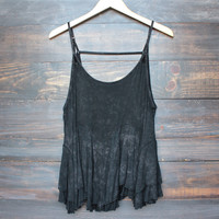 uneven hem acid wash open back women's tank - black