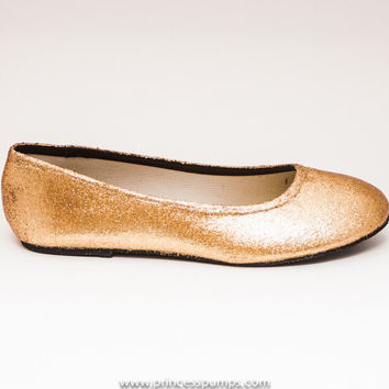 Glitter Champagne Gold Ballet Flat Slipper Custom Dress Casual Shoes