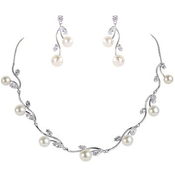 Women's Cubic Zirconia Simulated Pearl Leaf Bridal Necklace Earrings Jewelry Set Ivory Color Silver-tone