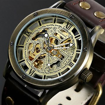 Vintage Bronze Men's Skeleton Watches Clock Male Leather Strap Antique Steampunk Casual Automatic Skeleton Mechanical Wristwatch