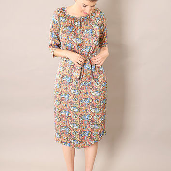 Pink classic modest  midi dress, with belt and paisley print